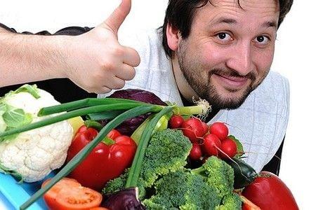 Мужчина с овощами